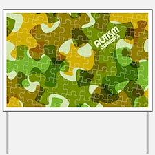 Autism Awareness Puzzles Camo Yard Sign