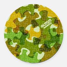 Autism Awareness Puzzles Camo Round Car Magnet
