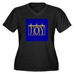 Joy Golden Blue Women's Plus Size V-Neck Dark T-Sh