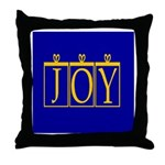 Joy Golden Blue Throw Pillow