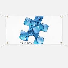 Autism Awareness Blue Puzzle Pieces Banner