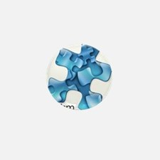 Autism Awareness Blue Puzzl Mini Button (100 pack)