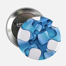 """Autism Awareness Blue Puzzle Pieces 2.25"""" Button"""