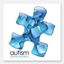 "Autism Awareness Blue Pu Square Car Magnet 3"" x 3"""