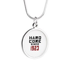 Hard Core Since 1923 Silver Round Necklace
