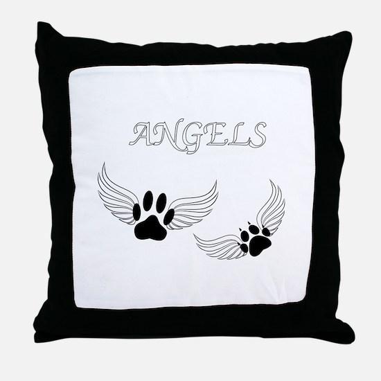 Angel Pet Paws Throw Pillow