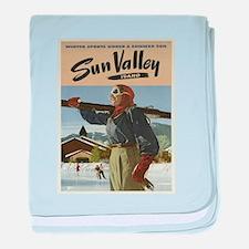 Vintage poster - Sun Valley baby blanket