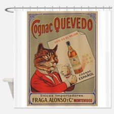 Cognac Quevedo, Cat, Vintage Advert Shower Curtain