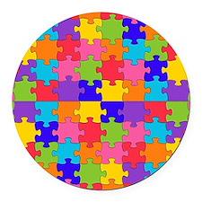 autism puzzle Round Car Magnet
