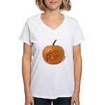 Owl O'Lantern Women's V-Neck T-Shirt