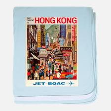 Vintage poster - Hong Kong baby blanket
