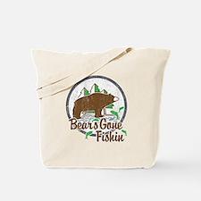 Bears Gone Fishin' DISTRESSED Tote Bag