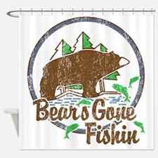 Bears Gone Fishin' DISTRESSED Shower Curtain