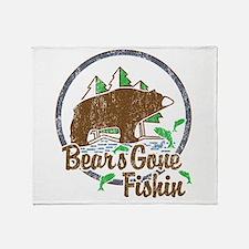 Bears Gone Fishin' DISTRESSED Throw Blanket