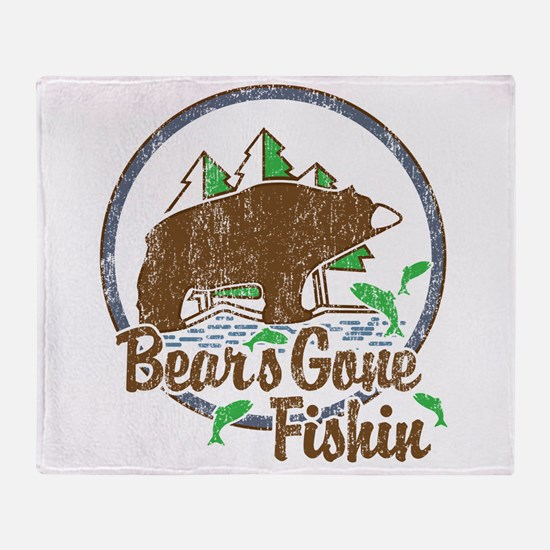 Bears Gone Fishin' DISTRESSED Throw Blanket