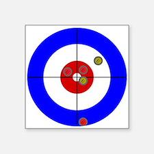 """Cute Curling rocks Square Sticker 3"""" x 3"""""""