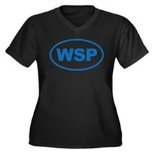 WSP Blue Eur Women's Plus Size V-Neck Dark T-Shirt