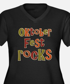 Oktoberfest Rocks Party Holid Women's Plus Size V-