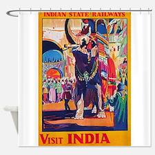 Visit India, Elephant; Vintage Trav Shower Curtain
