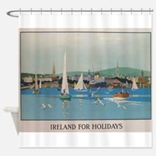 Ireland for the Holidays, Sailboats Shower Curtain