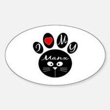 I love my Manx Sticker (Oval)