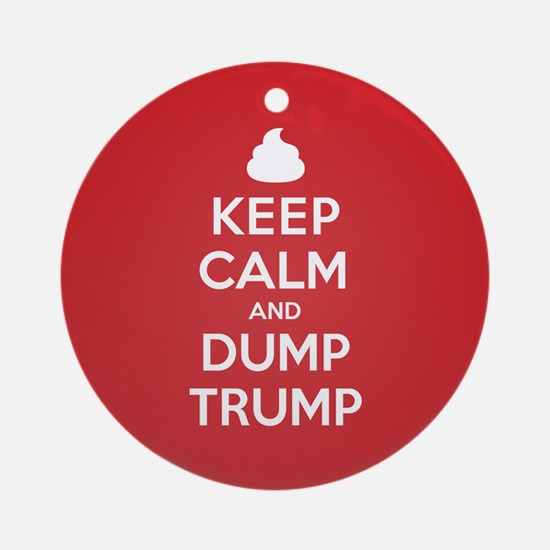 Keep Calm Dump Trump Round Ornament
