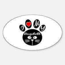 I love my Ragdoll Sticker (Oval)