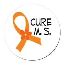 Cure MS Multiple Sclerosis Ribbon Round Car Magnet