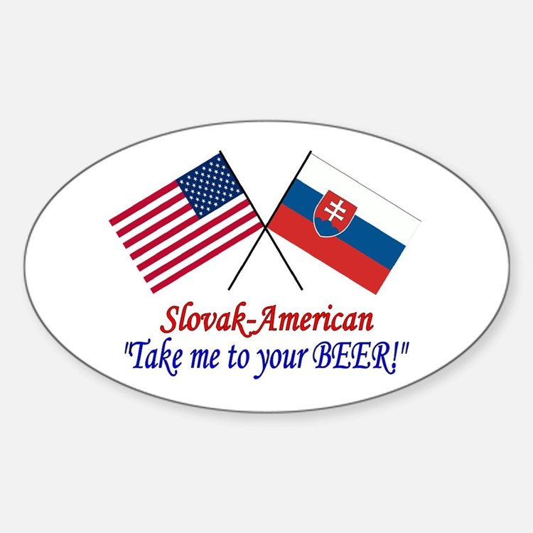 Slovak/American 1 Oval Decal