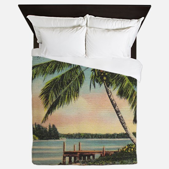 Palm Trees Vintage Queen Duvet