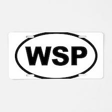 WSP Black Euro Oval Aluminum License Plate
