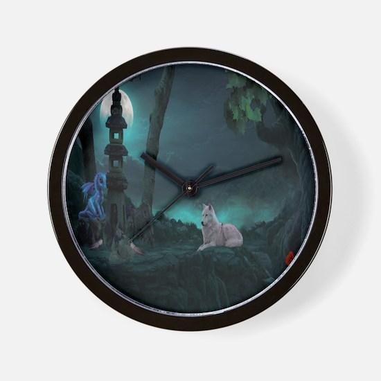 Moonlight Wolf Wall Clock