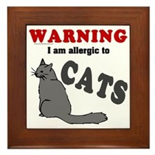 Allergic To Cats Framed Tile