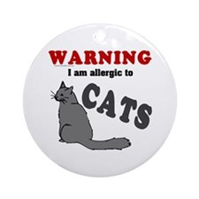 Allergic To Cats Ornament (Round)