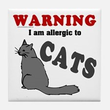 Allergic To Cats Tile Coaster