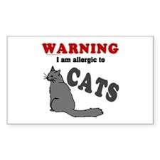 Allergic To Cats Rectangle Decal