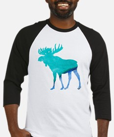 Turquoise and Blue Moose Baseball Jersey