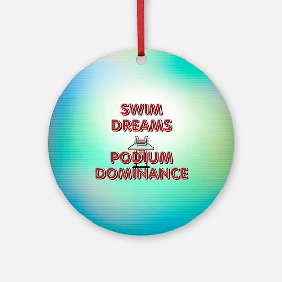Swim Podium Dominance Round Ornament