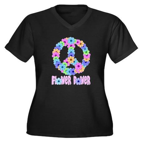 Flower Power Peace Sign Women's Plus Size V-Neck D