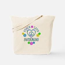 Peace Love Swimming Tote Bag