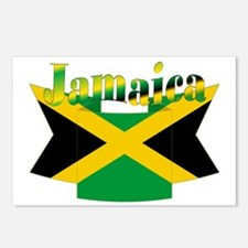 Jamaican flag ribbon Postcards (Package of 8)