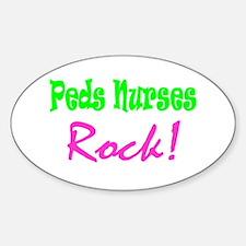 Peds Nurses Rock! Oval Decal