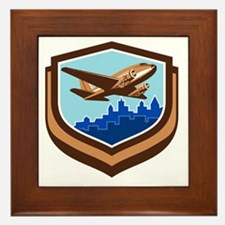 Vintage Airplane Take Off Cityscape Shield Retro F