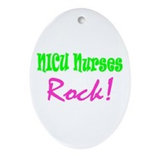 NICU Nurses Rock! Oval Ornament
