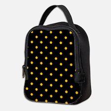 Polka Dots: Gold on Black Neoprene Lunch Bag