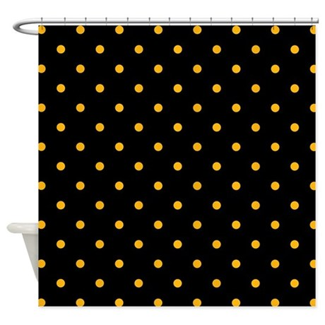 Polka Dots: Gold On Black Shower Curtain
