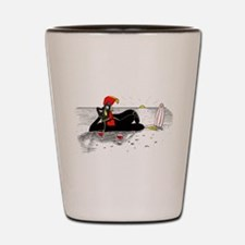 Barselos rooster on the beach Shot Glass