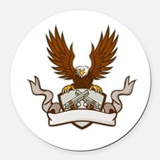 Bald Eagle Crossed 45 Caliber Pistols Shield Retro