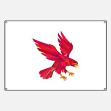 Peregrine Falcon Swooping Low Polygon Banner
