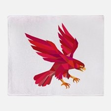 Peregrine Falcon Swooping Low Polygon Throw Blanke
